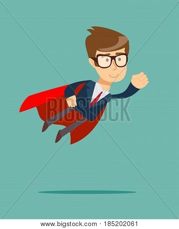 Super Businessman. Cartoon man in a cloak of Super man. Business concept illustration.