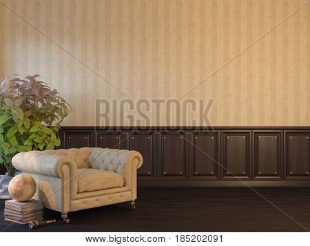 3d illustration of an interior mock up with a poster on the wall. Interior design in classical style with two armchairs, a large flower and a floor lamp