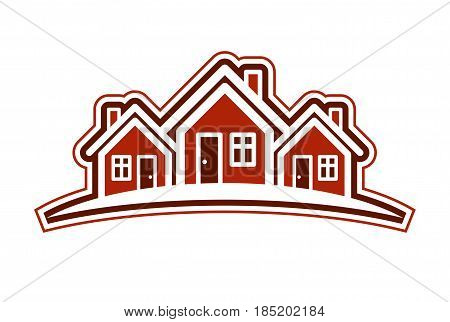 Colorful holiday houses vector illustration home image with horizon line. Touristic and real estate creative emblem cottages front view.