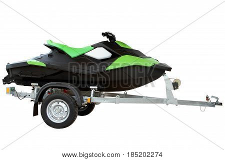 Modern Green hydrocycle on the automobile trailer.