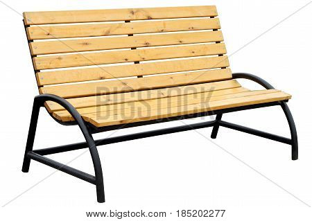Yellow wooden bench isolated on white background.