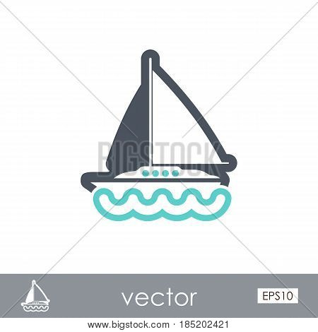 Boat with a Sail outline vector icon. Beach. Summer. Summertime. Vacation eps 10