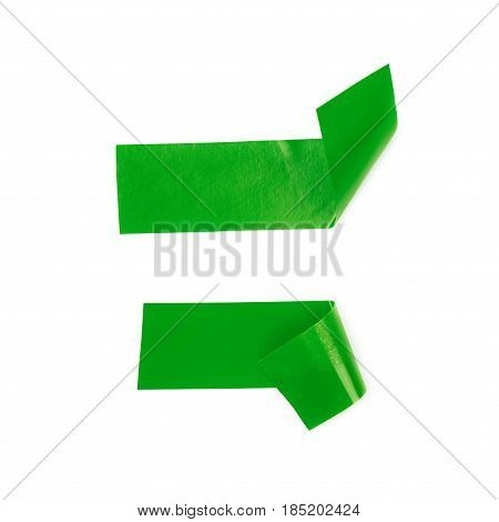 Single bent piece of insulating tape isolated over the white background, set of two different foreshortenings