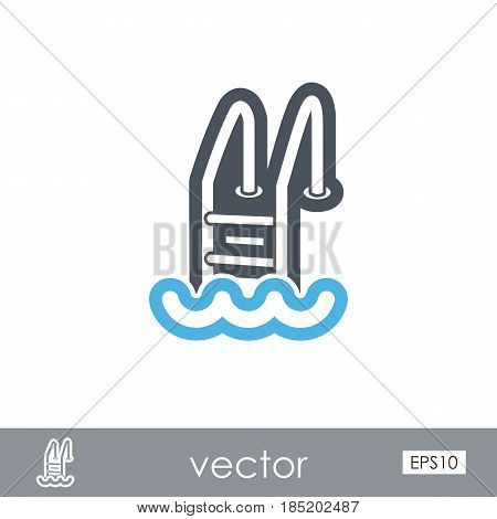Swimming pool outline vector icon. Beach. Summer. Summertime. Vacation eps 10