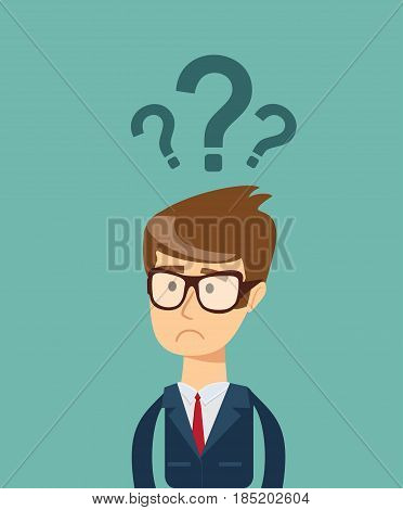 Businessman with question mark over his head, Vector EPS10.