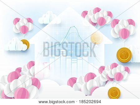 Graph and chart in Home shape. Pink and white balloons hanging coins flying with clouds Financial concept. Paper art style