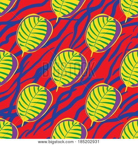Seamless Trendy Pattern design with doodle tropical leafs and lines. design of wallpaper, fabric, card, packaging and decorative textile. Concept for womens day, birthday and other holidays