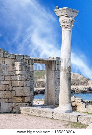 Ancient castle with columns near the sea