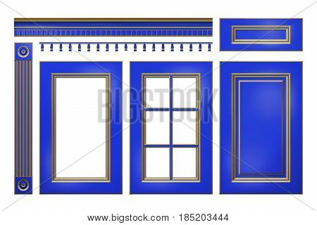 Blue with gold door, drawer, column, cornice for kitchen cabinet isolated on white. 3D rendered