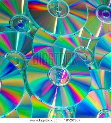 Empty compact colorful discs