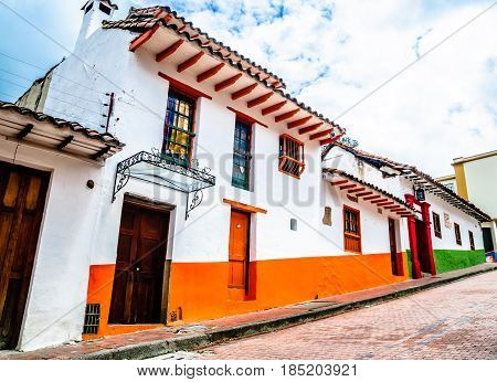 View on colonial building in Bogota - Colombia
