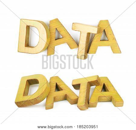 Word Data made of colored with paint wooden letters, composition isolated over the white background, set of two different foreshortenings