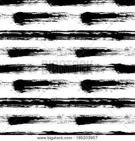Painted striped pattern. Seamless horizontal brush stroke lines. Sketchy hand drawn graphic print. Grunge vector design. Black and white background. Grungy wallpaper, furniture fabric, textile.