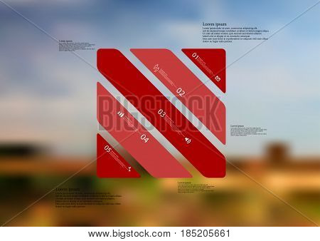 Illustration infographic template with motif of rectangle askew divided to five standalone red sections with simple sign number and sample text. Blurred photo is used as background.