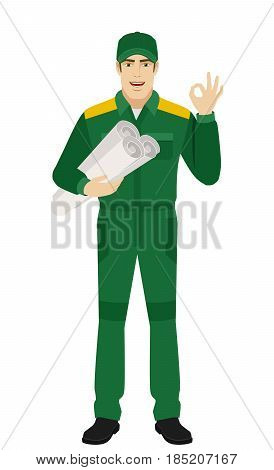 Worker holding the project plan and showing a okay hand sign. Full length portrait of Delivery man or Worker Character in a flat style. Vector illustration.