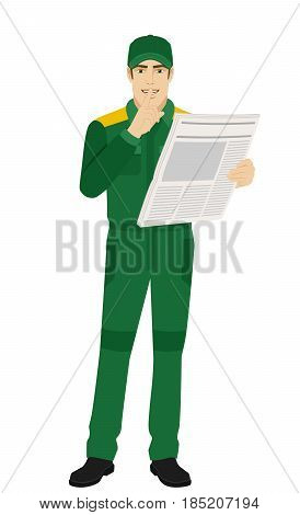 Hush hush. Worker with newspaper showing hush-hush sign. Full length portrait of Delivery man or Worker Character in a flat style. Vector illustration.