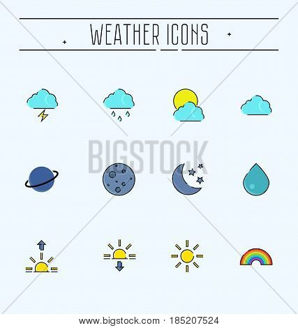 Simple Set of Weather Related Vector Line Icons. Contains such Icons as sunrise, sunset, rainbow, planet and more.