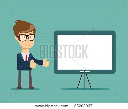 Businessman presenting marketing data on a presentation screen board . Business seminar. Flat style vector illustration isolated on background.