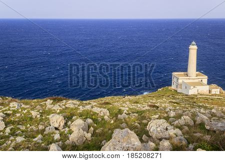Salento coast: the Palascìa lighthouse of Cape of Otranto in Apulia standing on hard granite rocks is the most easterly point of Italy and marks the meeting of the Ionian Sea and the Adriatic Sea.