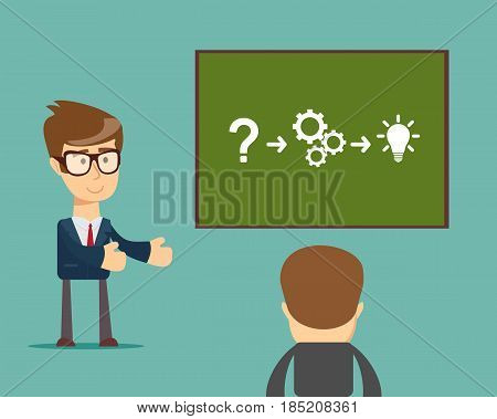 Businessman presenting marketing data on a presentation screen board explaining charts to sales training audience. Business seminar. Flat style vector illustration isolated on background.