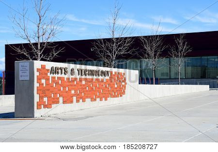 KALISPELL, MONTANA, USA - April 11, 2017: Arts and Technology Building at Flathead Valley Community College.