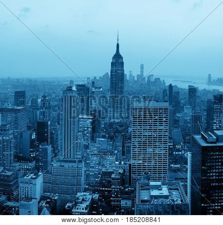 NEW YORK CITY, NY - JUL 11: Empire State Building and skyline on July 11, 2014 in New York City. It is a 102-story landmark and was world's tallest building for more than 40 years.
