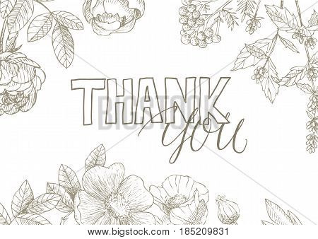 Thank You handwritten inscription surrounded by flowers . Hand drawn lettering. Thank You calligraphy. Thank you card. Vector illustration.