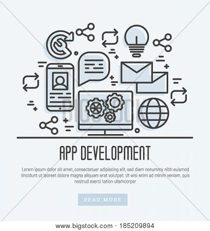 Icons of mobile app development process in thin line style. Vector illustration.