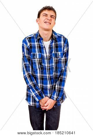 Young Man want to Pee Isolated on the White Background