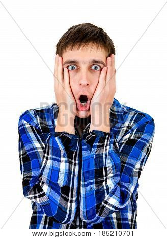 Extremely Surprised Young Man on the White Background closeup