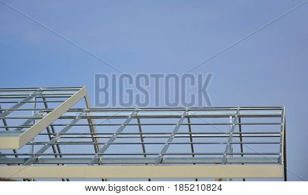 Roof structure on blue sky background,This is a roof structure