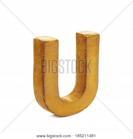 Single sawn wooden letter U symbol coated with paint isolated over the white background