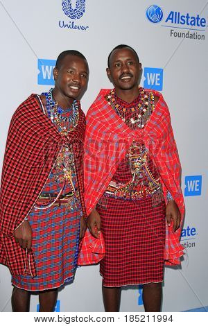 LOS ANGELES - APR 27:  Wilson, Jackson, Massai Warriors at the We Day California 2017 at The Forum on April 27, 2017 in Inglewood, CA