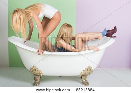 Spa And Relaxation, Pretty Girls In White Bath
