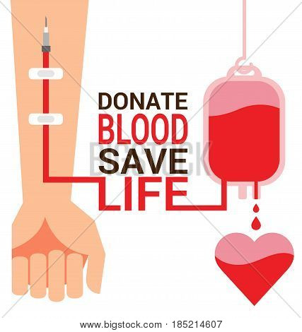 Bag blood with hand of donor for World Blood Donor Day