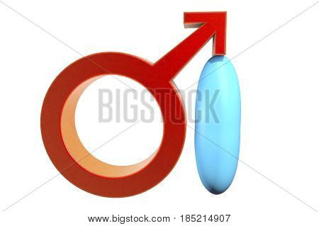 Impotence treatment concept. 3D illustration showing male symbol supporting by impotence pill