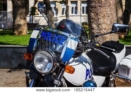 Police motorcycle close-up in good light in the park