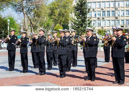 Varna Bulgaria 07 May 2017.Military Band opening International Running Marathon.