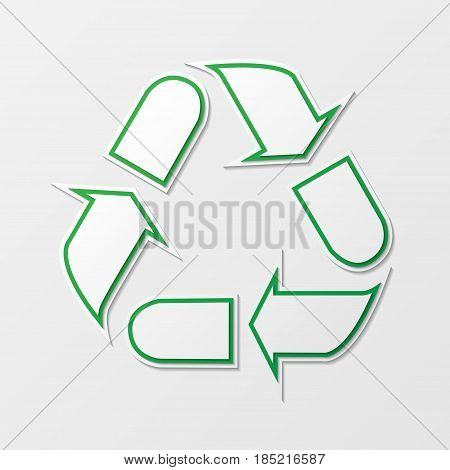 Green recycling symbol with shadows isolated on white background