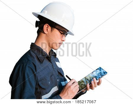 Engineer or Technician in white helmet glasses and blue working shirt suit using a digital tablet isolated on white Electricity and Oil and Gas industrial concept with clipping path.