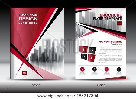 Business Brochure flyer templater Red cover design annual report Book Magazine ads company Profile layout in A4 size poster catalog leaflet newsletter Advertisement presentation infographics polygon
