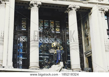 LONDON UK - August 10 2014: detail of the facade of the historical Selfridges department store in central London