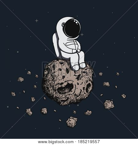 Astronaut travel on asteroid in outer space.Cosmic cartoon vector illustration