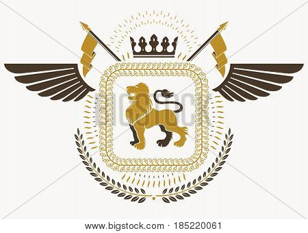Vintage Heraldry Design Template With Bird Wings, Vector Emblem Created With Wild Lion Illustration