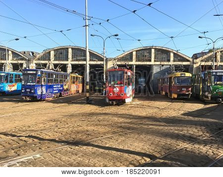 LVIV UKRAINE - MAY 06: Trams parked at the tram depot in Lviv on May 06 2017 in Lvov Ukraine