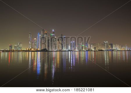 Dubai Marina in late evening on April 2017