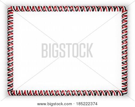 Frame and border of ribbon with the Iraq flag. 3d illustration
