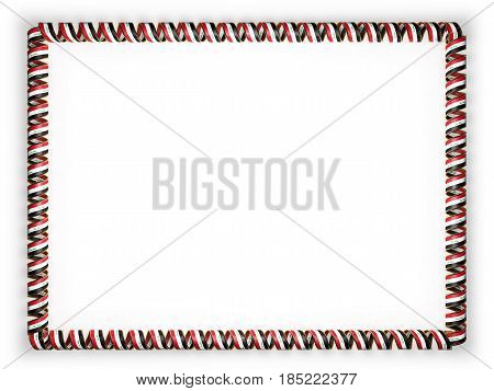 Frame and border of ribbon with the Iraq flag edging from the golden rope. 3d illustration