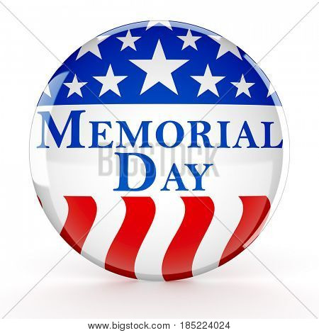 Memorial day button - 3d render