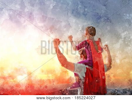 Happy loving family. Daddy and his daughter playing outdoors. Dad and child in an Superhero's costumes. Concept of Father's day. Illustration.